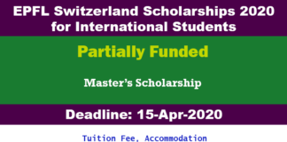 EPFL Switzerland Scholarships 2020 for International Students