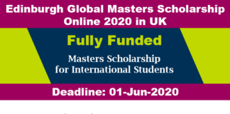 Edinburgh Global Masters Scholarship Online 2020 in UK (Fully Funded)