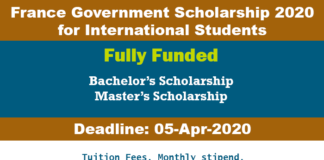 France Government Scholarship 2020 for International Students