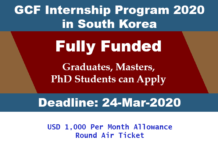 GCF Internship Program 2020 in South Korea (Fully Funded)