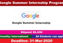 Google Summer Internship Program 2020 for International Students