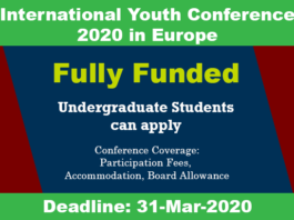 International Youth Conference 2020 in Europe (Fully Funded)