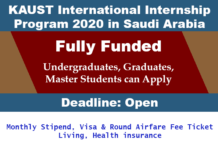 KAUST International Internship Program 2020 in Saudi Arabia