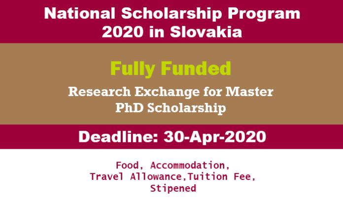 National Scholarship Program 2020 in Slovakia (Fully Funded)