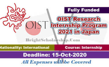 OIST Research Internship Program 2021 in Japan (Fully Funded)