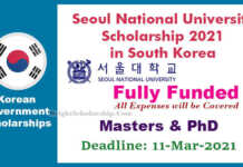 Seoul University Scholarship 2021 in South Korea (Fully Funded)