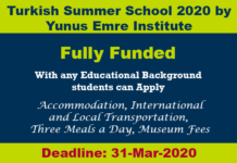 Turkish Summer School 2020 by Yunus Emre Institute (Fully Funded)