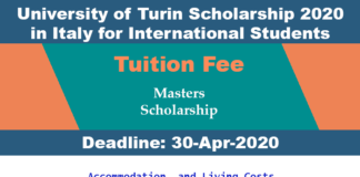 University of Turin Scholarship 2020 in Italy for International Students
