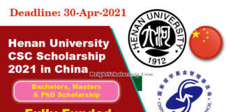 Henan University CSC Scholarship 2021 in China (Fully Funded)