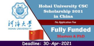 Hohai University CSC Scholarship 2021 in China (Fully Funded)