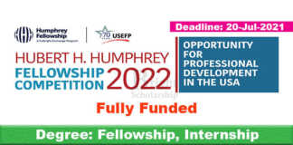 Humphery Fellowship Program 2022 in USA (Fully Funded)