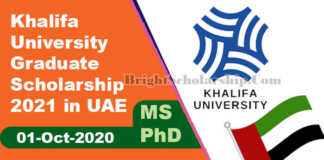 Khalifa University Graduate Scholarship 2021 in UAE (Fully Funded)