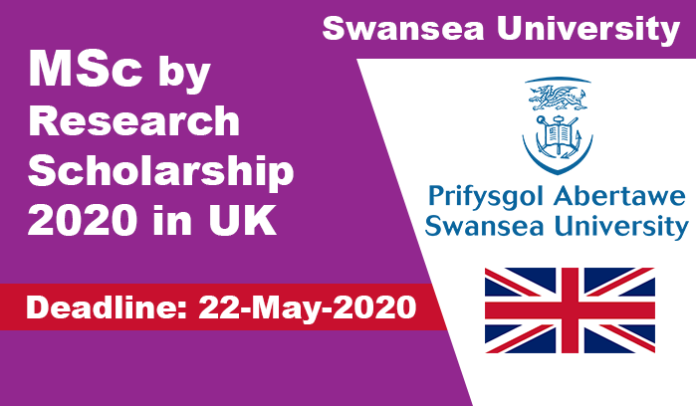 Swansea University Research Scholarship 2020 in UK (Fully Funded)