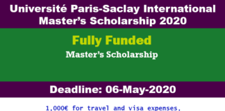 Université Paris-Saclay International Master's Scholarship 2020 (Fully Funded)