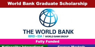 World Bank Graduate Scholarship Program 2020 (Fully Funded)
