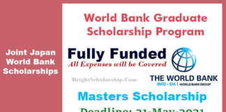 World Bank Graduate Scholarship Program 2021 (Fully Funded)