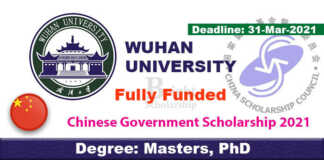Wuhan University CSC Scholarships 2021 in China (Fully Funded)
