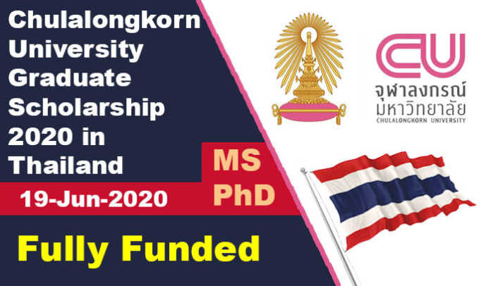 Chulalongkorn University Graduate Scholarship 2020 in Thailand (Fully Funded)