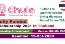 Chulalongkorn University Scholarships 2021 in Thailand (Fully Funded)