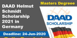 DAAD Helmut Schmidt Scholarship 2021 in Germany (Fully Funded)