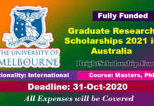 Graduate Research Scholarships 2021 in Australia (Fully Funded)