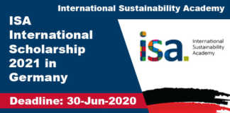 ISA International Scholarship 2021 in Germany (Fully Funded)