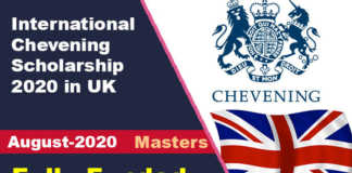 International Chevening Scholarship 2020 in UK (Fully Funded)