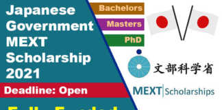 Japanese Government MEXT Scholarship 2021 (Fully Funded)