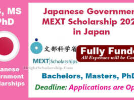 Japanese Government MEXT Scholarship 2022 in Japan (Fully Funded)