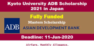 Kyoto University ADB Scholarship 2021 in Japan (Fully Funded)