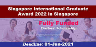 Singapore International Graduate Award 2022 in Singapore (Fully Funded)