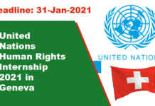 United Nations Human Rights Internship 2021 in Geneva