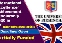 University of Birmingham Excellence Scholarship 2020 in UK