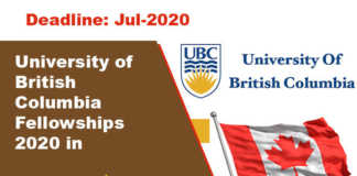 University of British Columbia Fellowships 2020 in Canada
