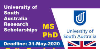 University of South Australia Research Scholarships 2021 (Fully Funded)