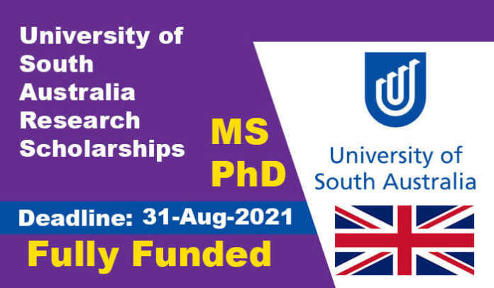 University of South Australia Research Scholarships 2022 (Fully Funded)