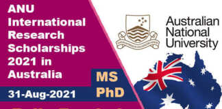 ANU International Research Scholarships 2021 in Australia (Fully Funded)