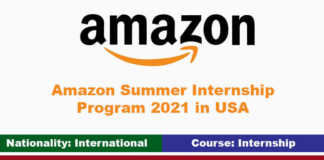 Amazon Summer Internship Program 2021 in USA