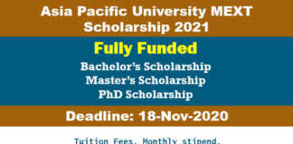 Asia Pacific University MEXT Scholarship 2021 (Fully Funded)