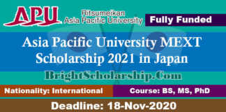 Asia Pacific University MEXT Scholarship 2021 in Japan (Fully Funded)