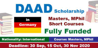 DAAD International Postgraduate Scholarship 2021 in Germany (Fully Funded)