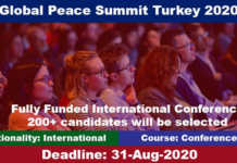 Global Peace Summit Turkey 2020 International Conference (Fully Funded)