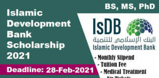 Islamic Development Bank Scholarship 2021 (Fully Funded)