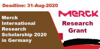 Merck International Research Scholarship 2020 in Germany