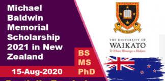 Michael Baldwin Memorial Scholarship 2021 in New Zealand