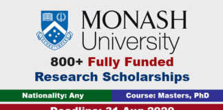 Monash University Research Scholarships 2021 in Australia (Fully Funded)