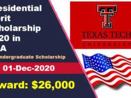 Presidential Merit Scholarship 2020 at Texas Tech University