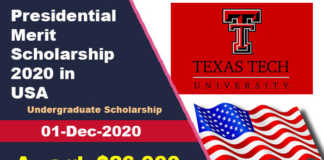 Presidential Merit Scholarship 2020 at Texas Tech University