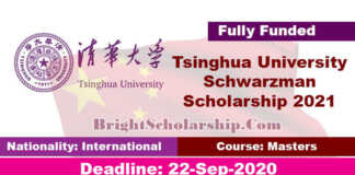 Tsinghua University Schwarzman Scholarship 2021 in China (Fully Funded)