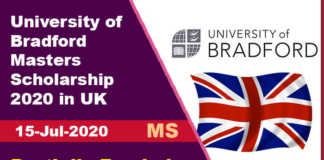 University of Bradford Masters Scholarship 2020 in UK